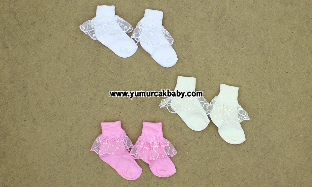 Kutulu 3 Yaş 12'li nakışlı dantelli kız çorap 0015