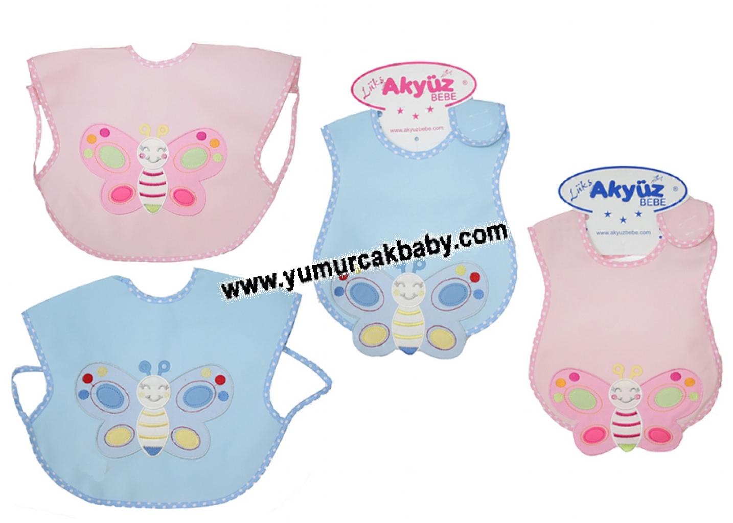 6'lı kelebek nakışlı leke tutmaz bebe önlük 055