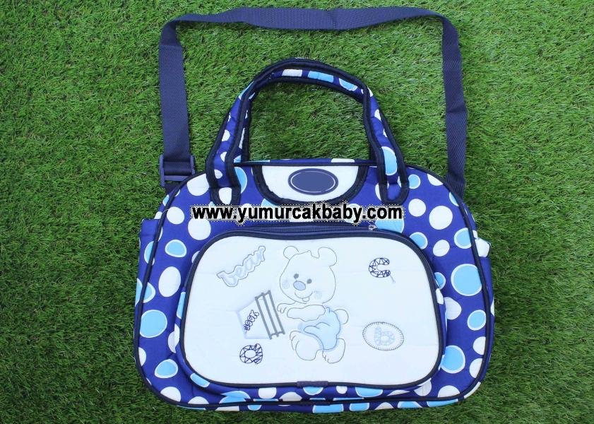 Puanlı ayı desenli bebe bakım çantası 0028